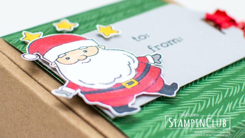 Stampin' Up!, StampinClub, Weihnachten, Be Jolly, Stampin' Blends Alkoholmarker, Sale-A-Bration 2021, Designerpapier Weihnachtliche Prints, Peaceful Prints DSP, Stanze Hübsche Anhänger / Fancy Tag Topper Punch