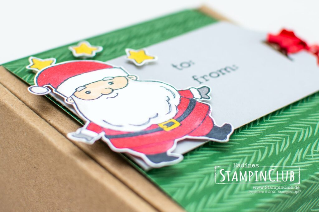 Be Jolly, Stampin' Up!, StampinClub, Weihnachten, Be Jolly, Stampin' Blends Alkoholmarker, Sale-A-Bration 2021, Designerpapier Weihnachtliche Prints, Peaceful Prints DSP, Stanze Hübsche Anhänger, Fancy Tag Topper Punch