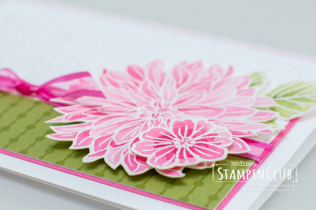 Watercoloring, Stampin' Up!, StampinClub, Watercoloring, Aquarell, Totally Techniques, Sale-A-Bration, Denkwürdige Dahlien, Delicate Dahlias, Prägeformen Dank und Gruß / Thanks and Hello Embossing Folders