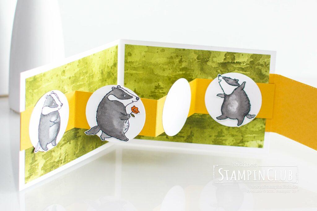 Stampin' Up!®, StampinClub, Designerpapier Schöne Natur, Beauty of the Earth DSP, Badger Besties, Stampin' Blends Alkoholmarker, Stanzformen im Strumpf, Stocking Dies