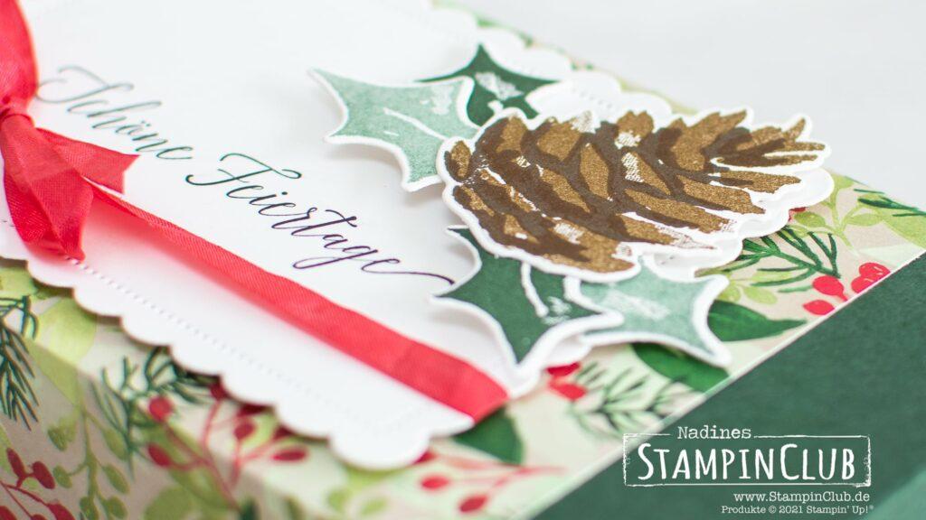 Stampin' Up!, StampinClub, Shadowbox, Verpackung, Kinder Bueno, Designerpapier Malerische Weihnacht, Christmas Season, Stanzformen Weihnachtsgrün und Etiketten, Herzliche Grüße, Stanzformen Gewellte Konturen